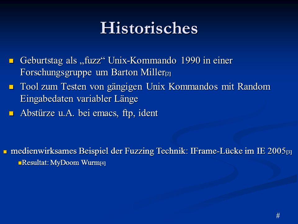 """HistorischesGeburtstag als """"fuzz Unix-Kommando 1990 in einer Forschungsgruppe um Barton Miller[2]"""